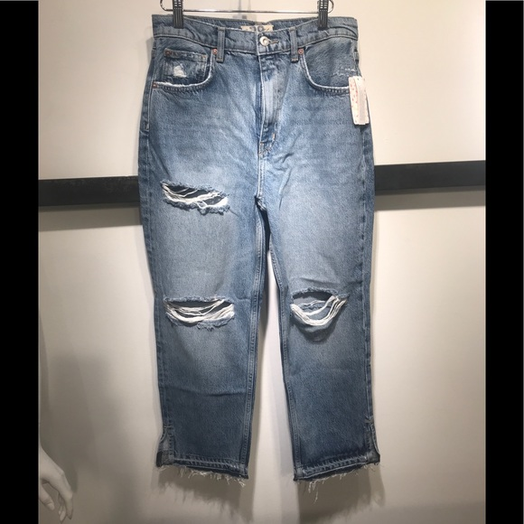 Free People Denim - Free People distressed boyfriend jeans